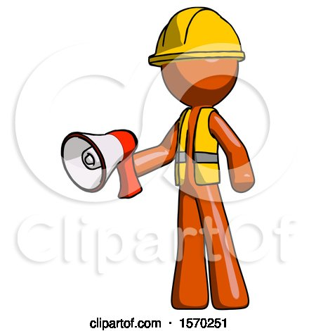 Orange Construction Worker Contractor Man Holding Megaphone Bullhorn Facing Right by Leo Blanchette