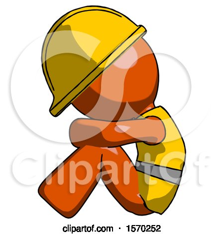 Orange Construction Worker Contractor Man Sitting with Head down Facing Sideways Left by Leo Blanchette