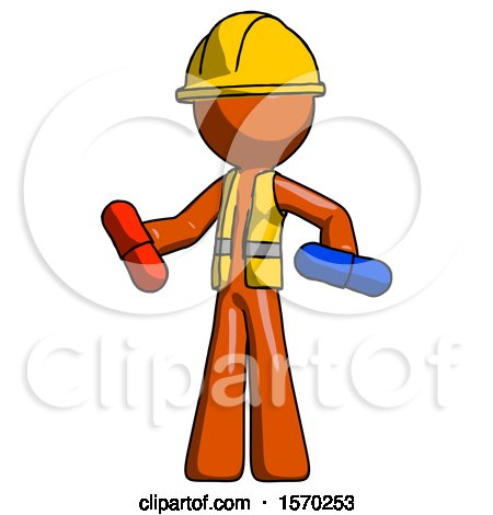 Orange Construction Worker Contractor Man Red Pill or Blue Pill Concept by Leo Blanchette