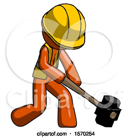 Orange Construction Worker Contractor Man Hitting with Sledgehammer, or Smashing Something at Angle by Leo Blanchette