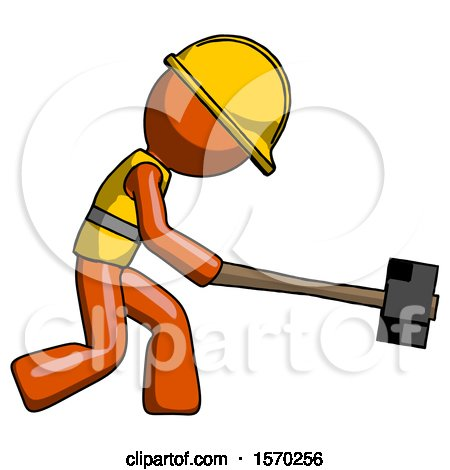 Orange Construction Worker Contractor Man Hitting with Sledgehammer, or Smashing Something by Leo Blanchette