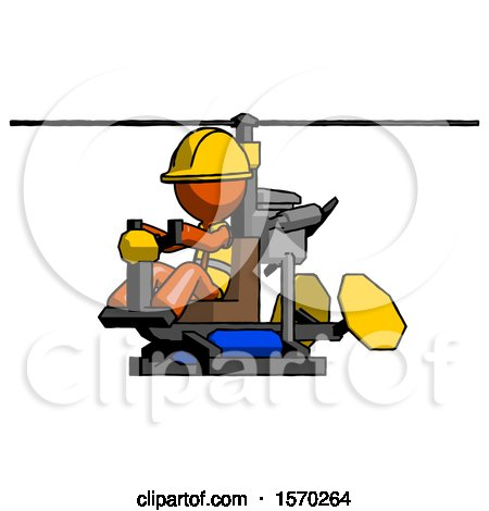 Orange Construction Worker Contractor Man Flying in Gyrocopter Front Side Angle View by Leo Blanchette