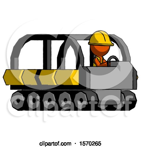Orange Construction Worker Contractor Man Driving Amphibious Tracked Vehicle Side Angle View by Leo Blanchette