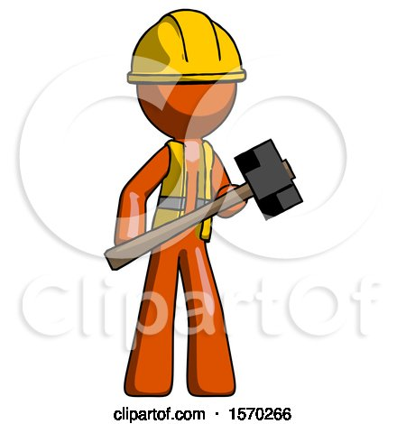 Orange Construction Worker Contractor Man with Sledgehammer Standing Ready to Work or Defend by Leo Blanchette