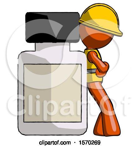 Orange Construction Worker Contractor Man Leaning Against Large Medicine Bottle by Leo Blanchette