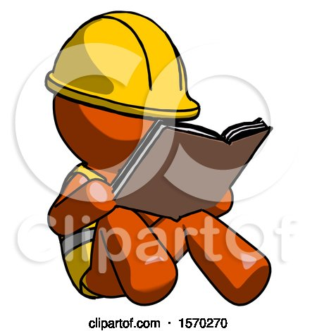 Orange Construction Worker Contractor Man Reading Book While Sitting down by Leo Blanchette