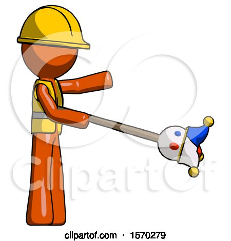 Orange Construction Worker Contractor Man Holding Jesterstaff - I Dub Thee Foolish Concept by Leo Blanchette