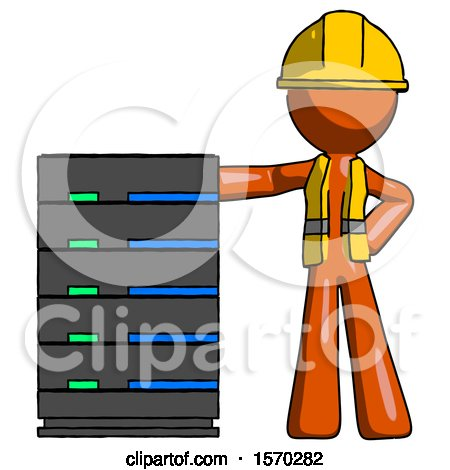 Orange Construction Worker Contractor Man with Server Rack Leaning Confidently Against It by Leo Blanchette