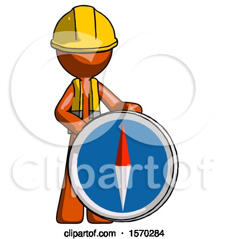 Orange Construction Worker Contractor Man Standing Beside Large Compass by Leo Blanchette