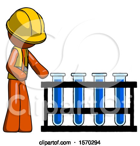 Orange Construction Worker Contractor Man Using Test Tubes or Vials on Rack by Leo Blanchette