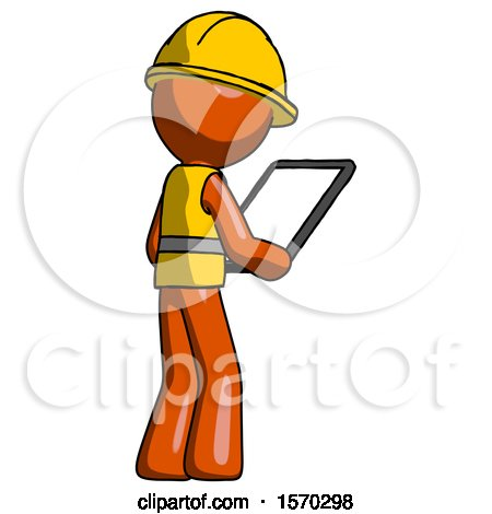 Orange Construction Worker Contractor Man Looking at Tablet Device Computer Facing Away by Leo Blanchette