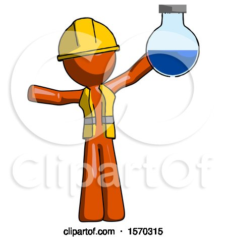Orange Construction Worker Contractor Man Holding Large Round Flask or Beaker by Leo Blanchette