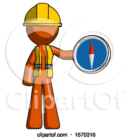 Orange Construction Worker Contractor Man Holding a Large Compass by Leo Blanchette