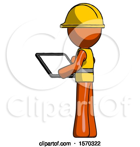 Orange Construction Worker Contractor Man Looking at Tablet Device Computer with Back to Viewer by Leo Blanchette