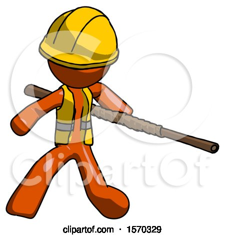 Orange Construction Worker Contractor Man Bo Staff Action Hero Kung Fu Pose by Leo Blanchette