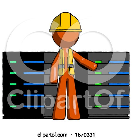 Orange Construction Worker Contractor Man with Server Racks, in Front of Two Networked Systems by Leo Blanchette