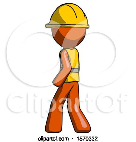 Orange Construction Worker Contractor Man Walking Away Direction Left View by Leo Blanchette