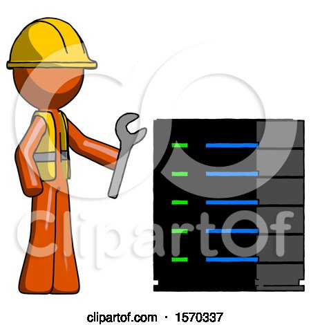 Orange Construction Worker Contractor Man Server Administrator Doing Repairs by Leo Blanchette