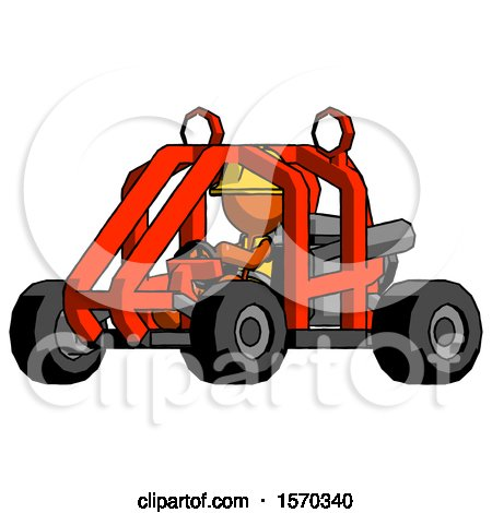 Orange Construction Worker Contractor Man Riding Sports Buggy Side Angle View by Leo Blanchette