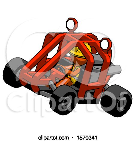 Orange Construction Worker Contractor Man Riding Sports Buggy Side Top Angle View by Leo Blanchette