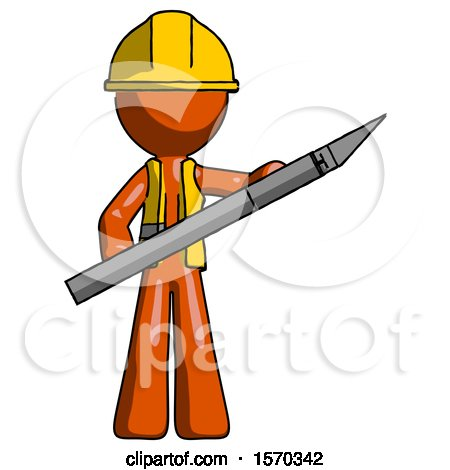 Orange Construction Worker Contractor Man Holding Large Scalpel by Leo Blanchette