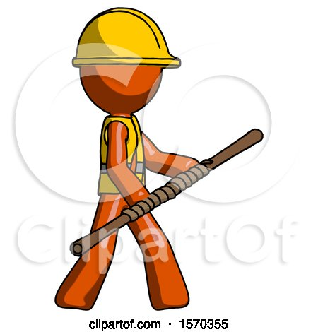 Orange Construction Worker Contractor Man Holding Bo Staff in Sideways Defense Pose by Leo Blanchette