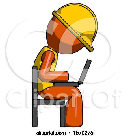 Orange Construction Worker Contractor Man Using Laptop Computer While Sitting in Chair View from Side by Leo Blanchette