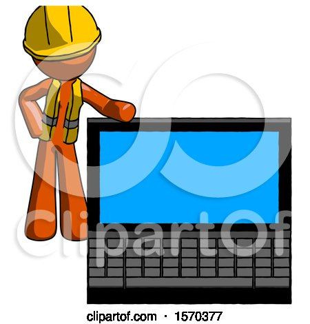 Orange Construction Worker Contractor Man Beside Large Laptop Computer, Leaning Against It by Leo Blanchette