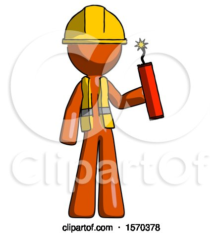 Orange Construction Worker Contractor Man Holding Dynamite with Fuse Lit by Leo Blanchette