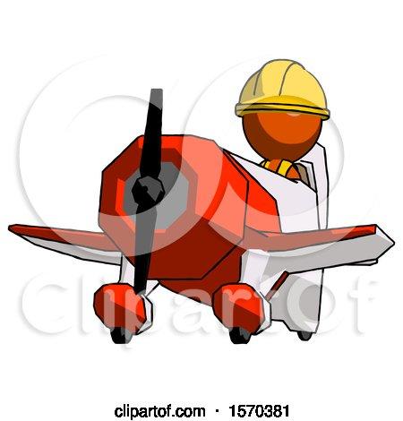 Orange Construction Worker Contractor Man Flying in Geebee Stunt Plane Viewed from Below by Leo Blanchette