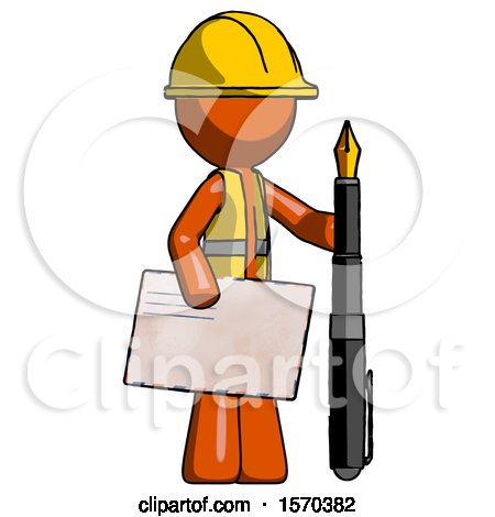 Orange Construction Worker Contractor Man Holding Large Envelope and Calligraphy Pen by Leo Blanchette