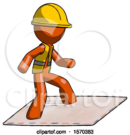 Orange Construction Worker Contractor Man on Postage Envelope Surfing by Leo Blanchette