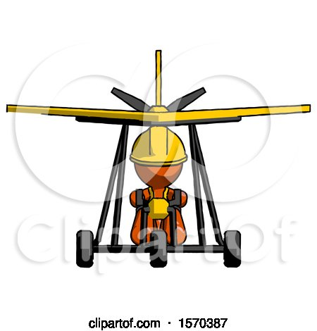 Orange Construction Worker Contractor Man in Ultralight Aircraft Front View by Leo Blanchette