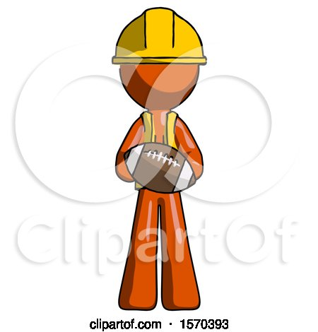 Orange Construction Worker Contractor Man Giving Football to You by Leo Blanchette