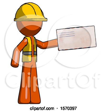 Orange Construction Worker Contractor Man Holding Large Envelope by Leo Blanchette