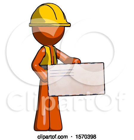 Orange Construction Worker Contractor Man Presenting Large Envelope by Leo Blanchette