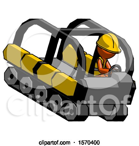 Orange Construction Worker Contractor Man Driving Amphibious Tracked Vehicle Top Angle View by Leo Blanchette