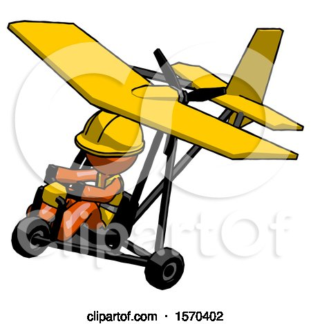 Orange Construction Worker Contractor Man in Ultralight Aircraft Top Side View by Leo Blanchette