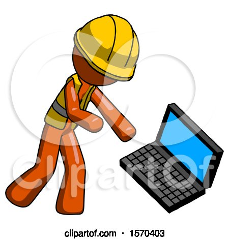 Orange Construction Worker Contractor Man Throwing Laptop Computer in Frustration by Leo Blanchette