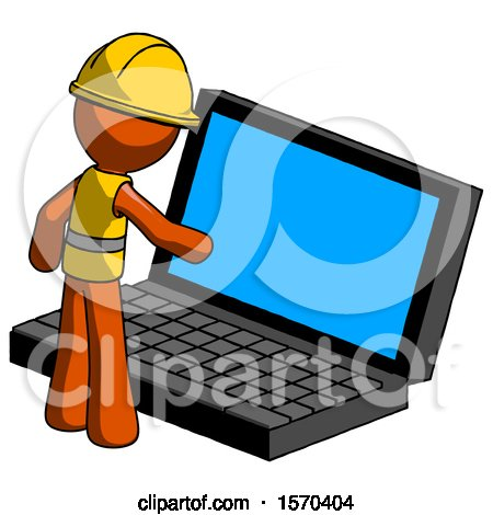 Orange Construction Worker Contractor Man Using Large Laptop Computer by Leo Blanchette