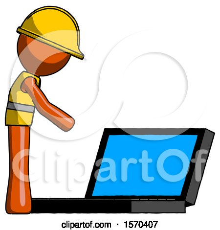 Orange Construction Worker Contractor Man Using Large Laptop Computer Side Orthographic View by Leo Blanchette