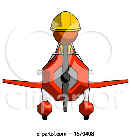 Orange Construction Worker Contractor Man in Geebee Stunt Plane Front View by Leo Blanchette