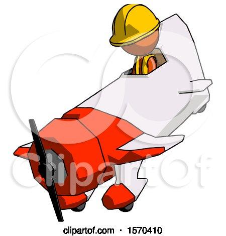 Orange Construction Worker Contractor Man in Geebee Stunt Plane Descending View by Leo Blanchette