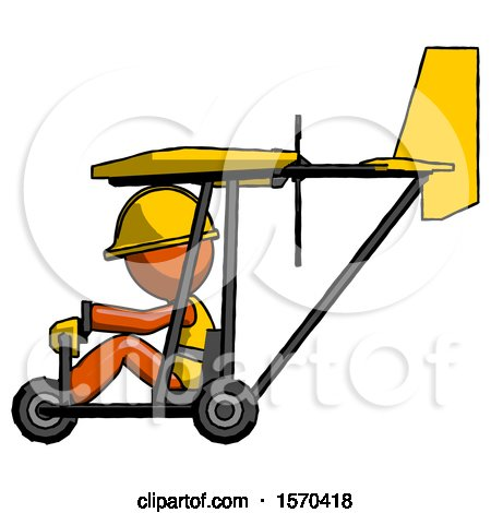 Orange Construction Worker Contractor Man in Ultralight Aircraft Side View by Leo Blanchette