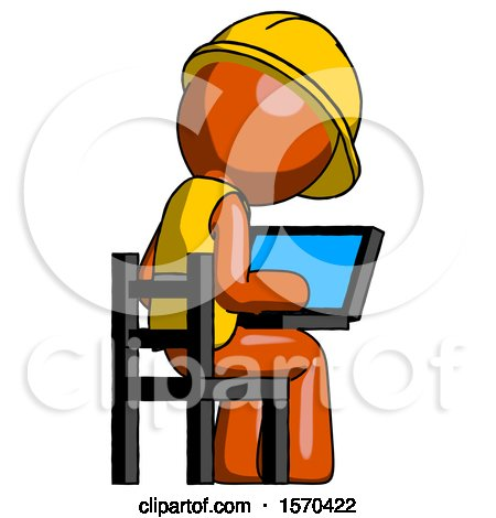 Orange Construction Worker Contractor Man Using Laptop Computer While Sitting in Chair View from Back by Leo Blanchette