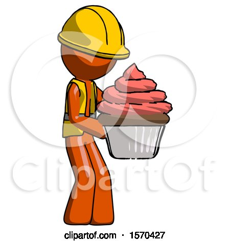 Orange Construction Worker Contractor Man Holding Large Cupcake Ready to Eat or Serve by Leo Blanchette