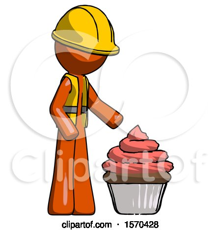 Orange Construction Worker Contractor Man with Giant Cupcake Dessert by Leo Blanchette