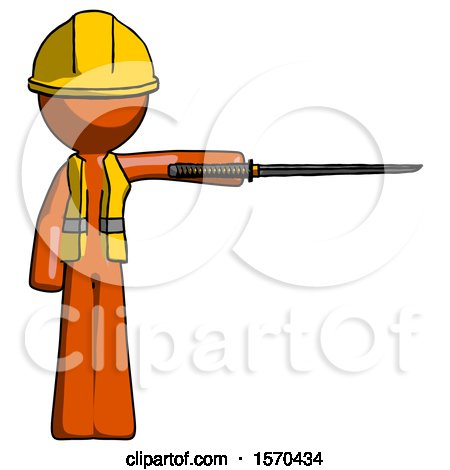 Orange Construction Worker Contractor Man Standing with Ninja Sword Katana Pointing Right by Leo Blanchette