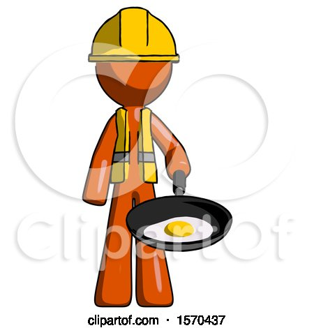 Orange Construction Worker Contractor Man Frying Egg in Pan or Wok by Leo Blanchette