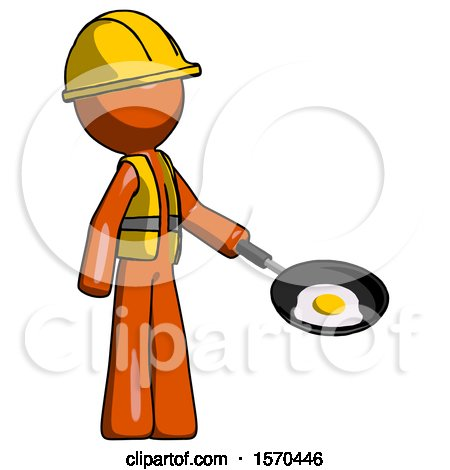 Orange Construction Worker Contractor Man Frying Egg in Pan or Wok Facing Right by Leo Blanchette